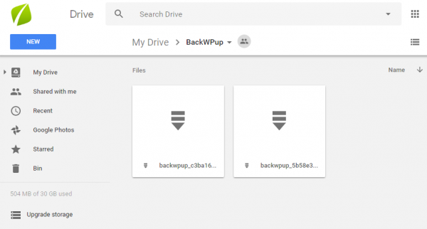 wordpress backups in google drive