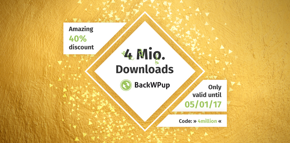 WordPress backup plugin BackWPup: 4 million downloads and BackWPup discount