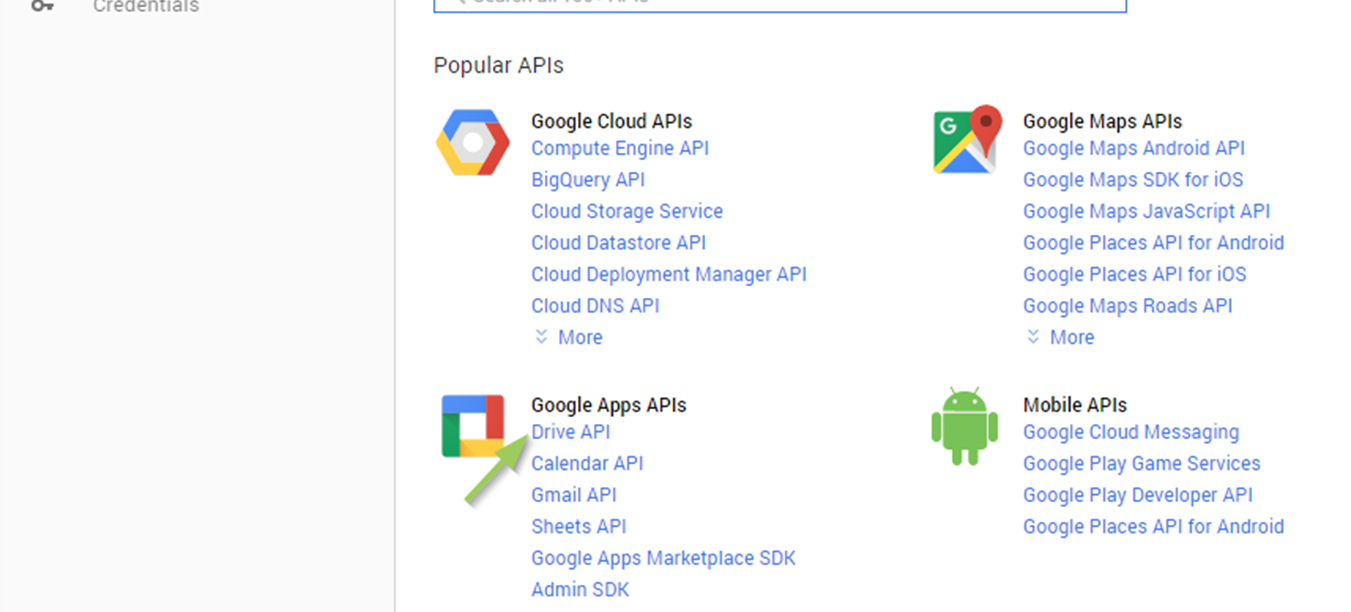Activate the Google Drive API for this project