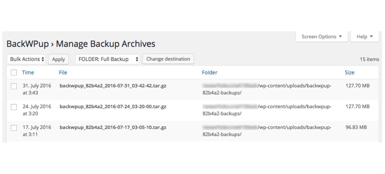 BackWPup → Backups page