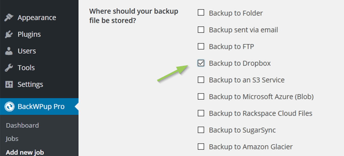 Check the Backup to Dropbox box