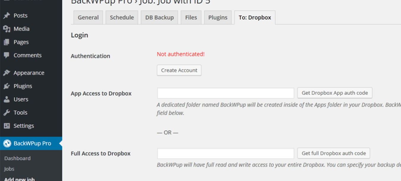 Configure the settings for Dropbox