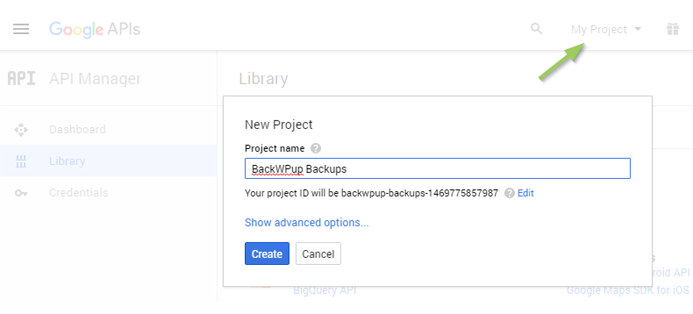 Create a new project and select it