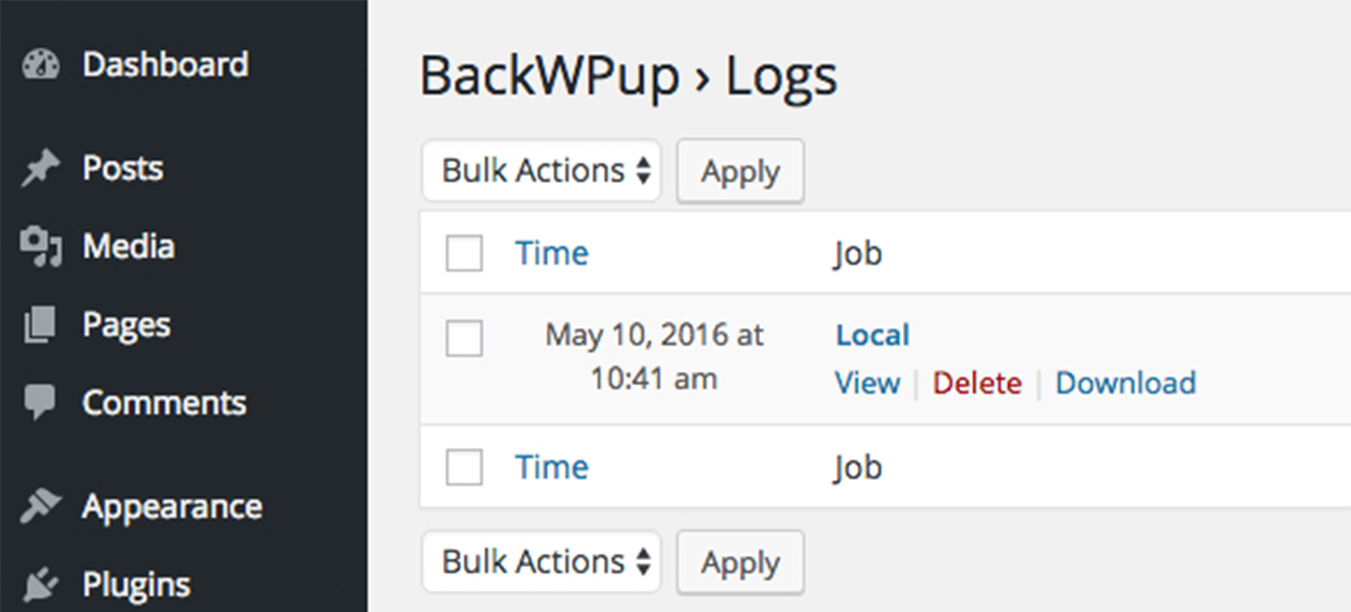 Download the log file under BackWPup Logs
