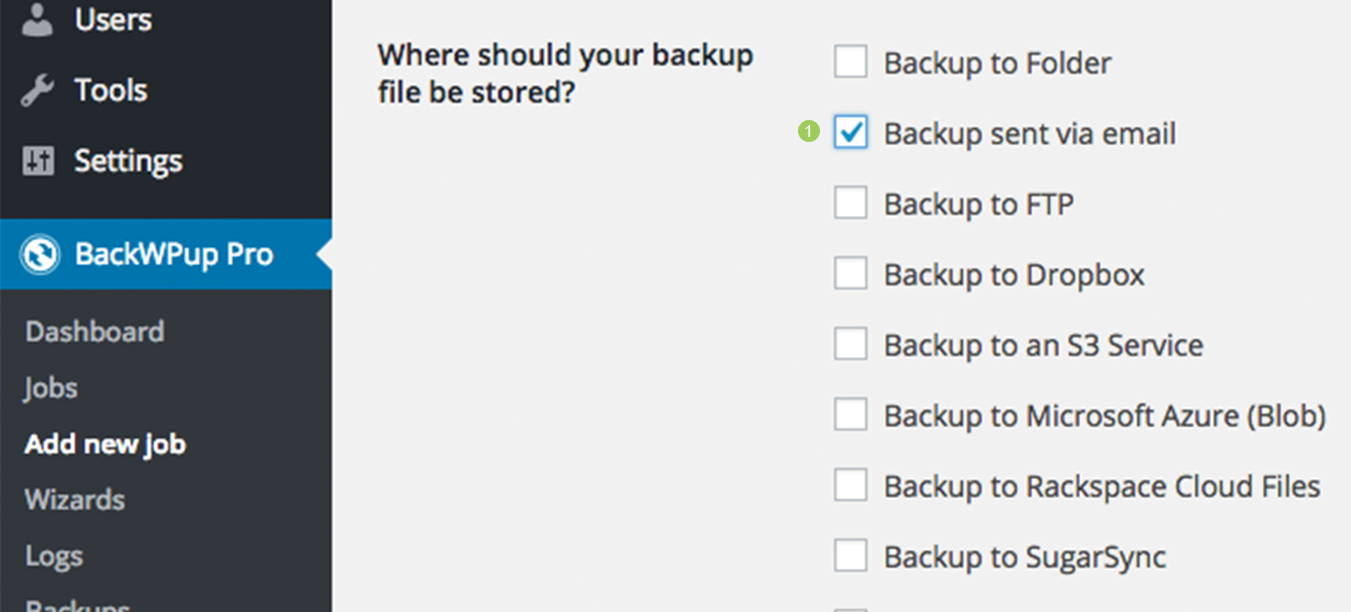 Edit the backup job under the General tab, in the Job Destination section