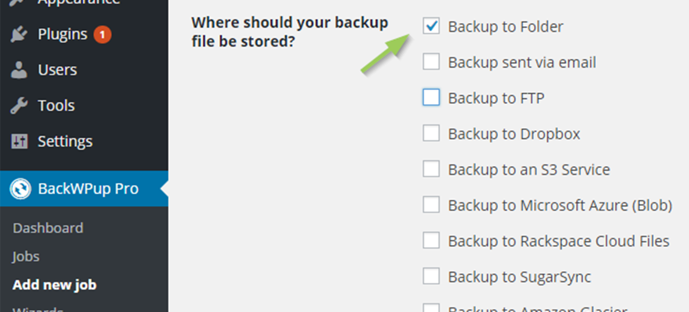 Edit the backup job