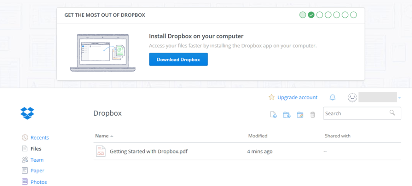 Now you can access your Dropbox Dashboard
