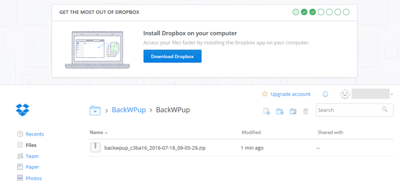 See the backup file in your Dropbox