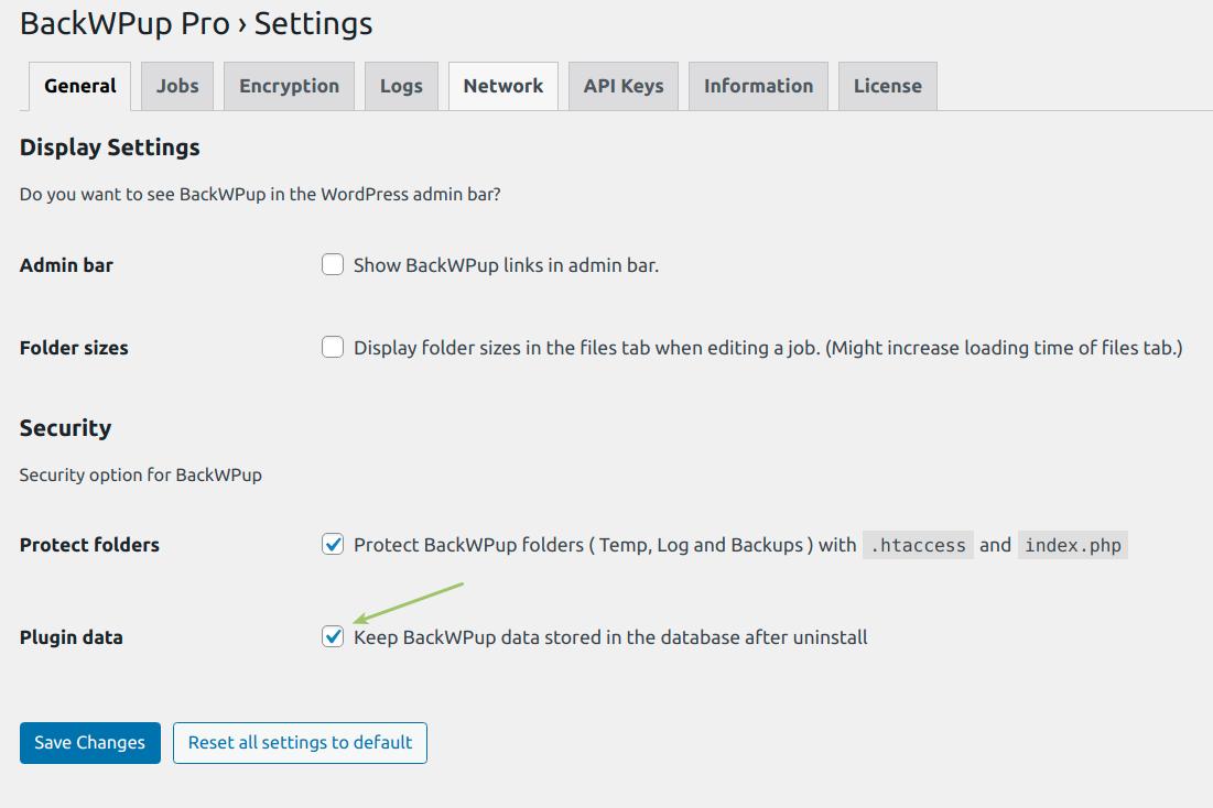 Keep BackWPup data option