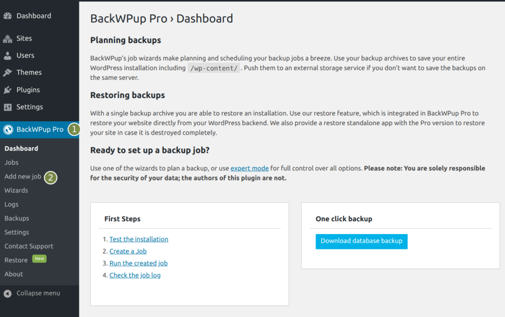 BackWPup additional databases - Add a new job