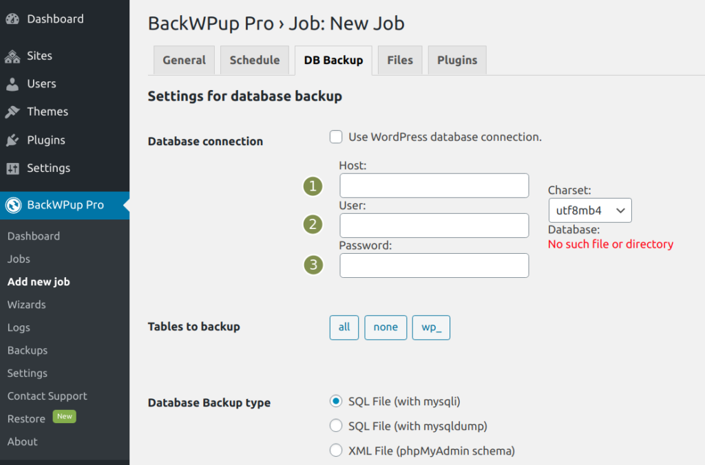 BackWPup additional databases - Provide the DB Settings