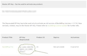 BackWPup Deprecated Api Key