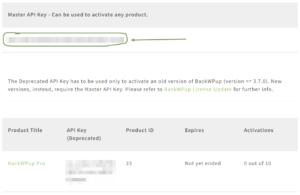 BackWPup Master Api Key