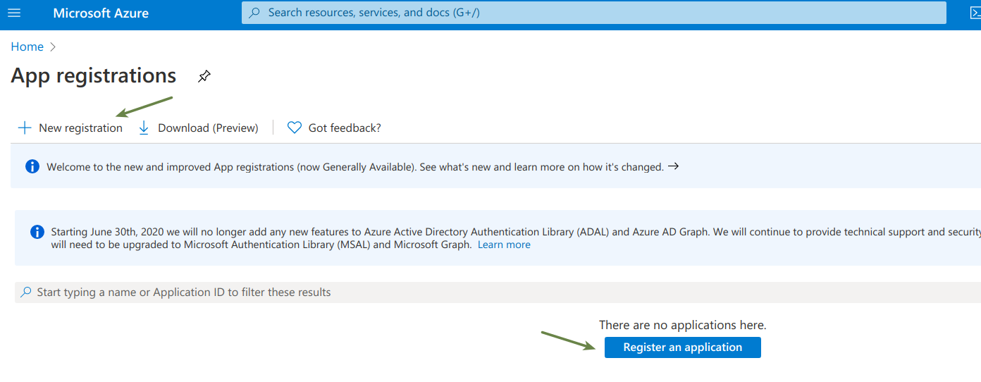Microsoft Azure Portal with links to register an Application