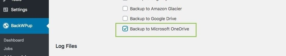 OneDrive destination option