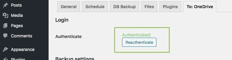 OneDrive connection authenticated