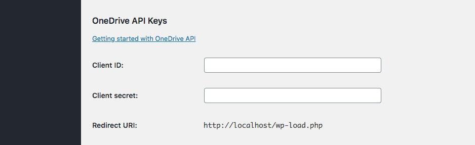 OneDrive APi Key settings