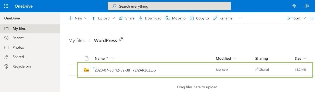 Backup-Archiv in OneDrive