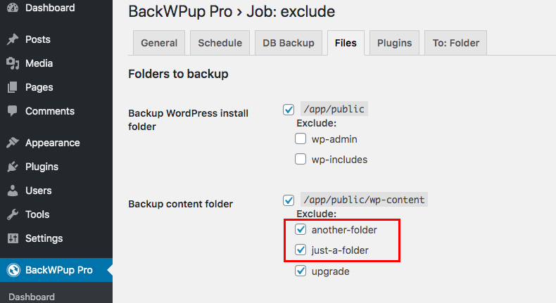 Folders added in the in Backup content folder exclude list
