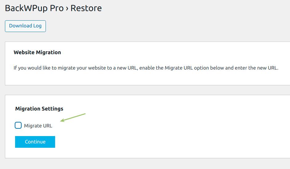 Migration option in BackWPup back end settings