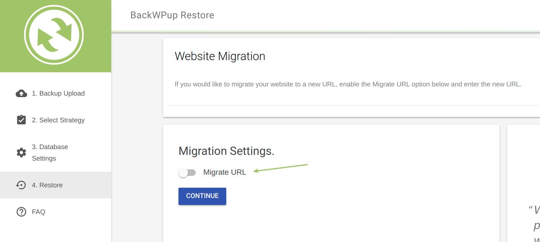 Migrate URL option