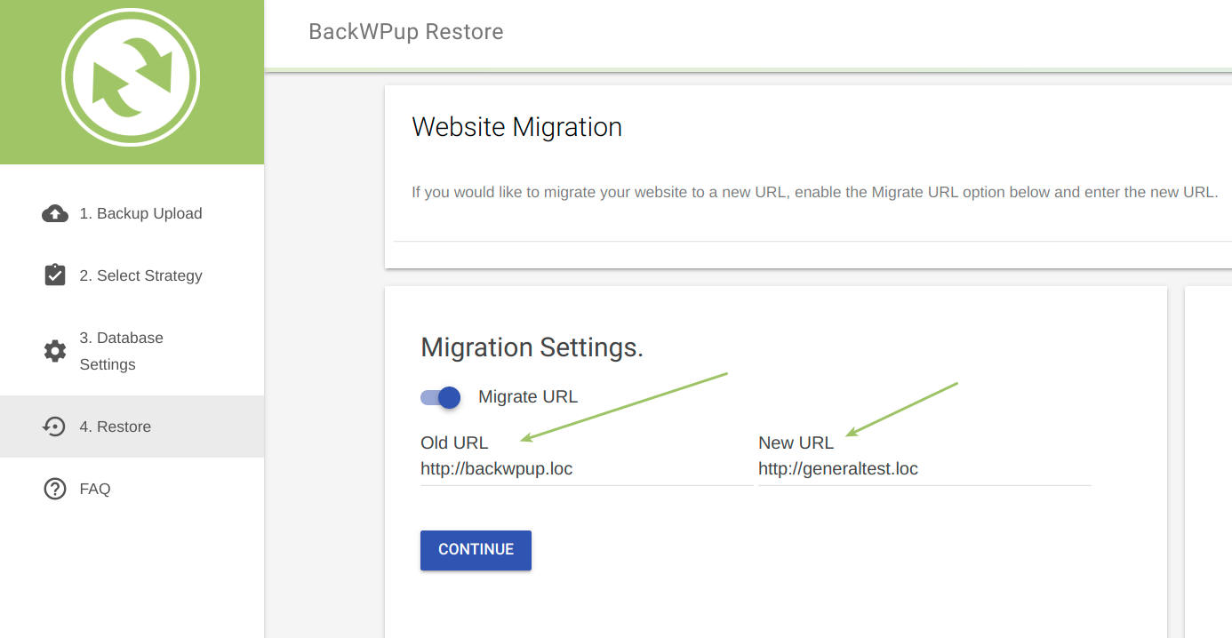 Migrate URL option selected, source (Old) and remote (New) URL are shown