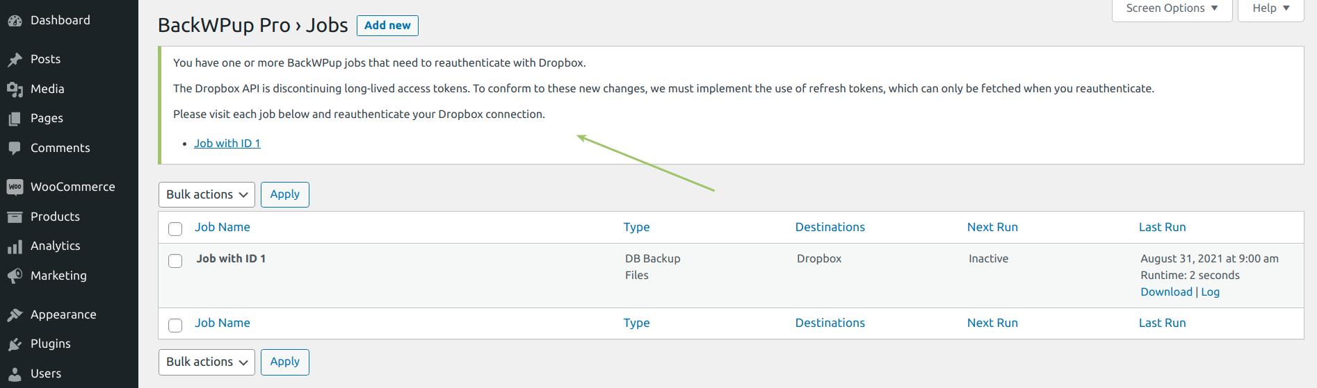 Dropbox Authentication Notification